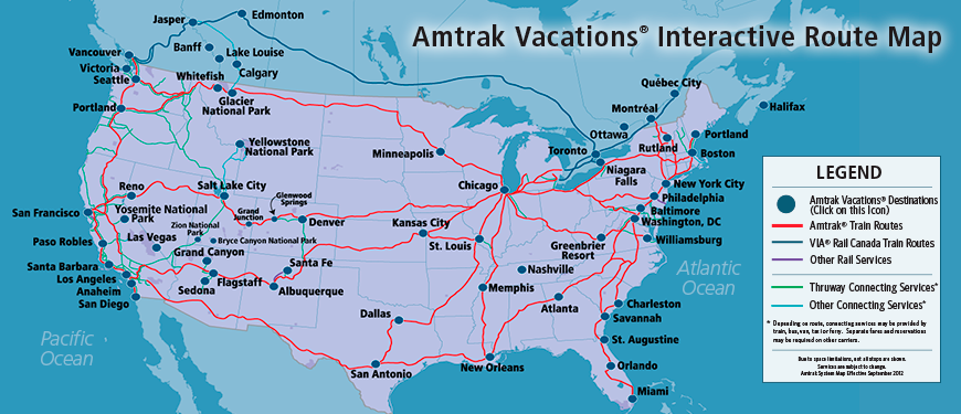 Amtrak Vacations Official Site Destinations US Canada - Amtrak map usa